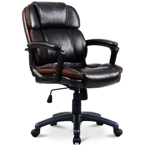 Dark Brown Ergonomic Mid-Back Office Chair GamingHeadsetPros.com