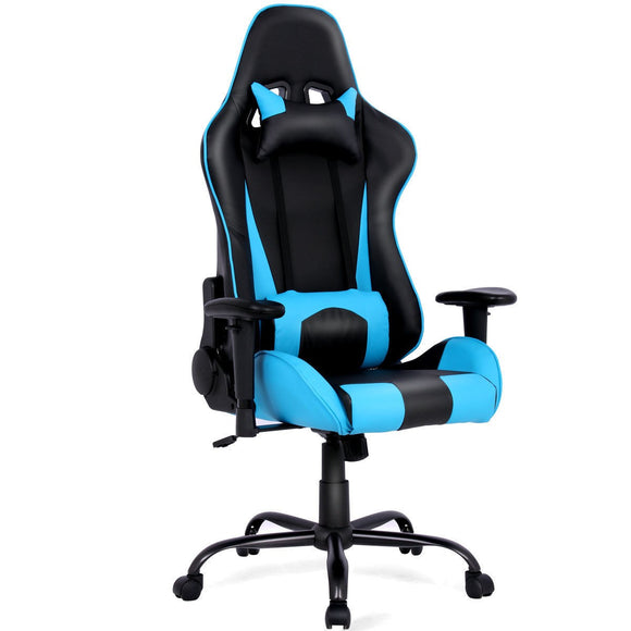 Gaming Chair Racing High Back Office Chair w/ Lumbar Support and Headrest Blue GamingHeadsetPros.com