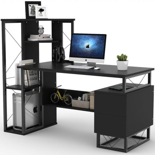 Gaming Desk with Corner Tower Shelves and Two Drawers 57'' Functional Office Desk GamingHeadsetPros.com