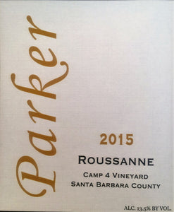 2015 Parker Roussanne Camp 4 Vineyard (90pts Wine Enthusiast)