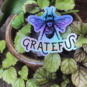 Bee Grateful Holographic Sticker