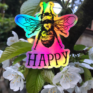 Bee Happy Holographic Sticker
