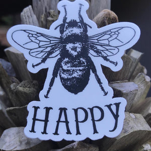 Bee Happy Die-Cut Sticker