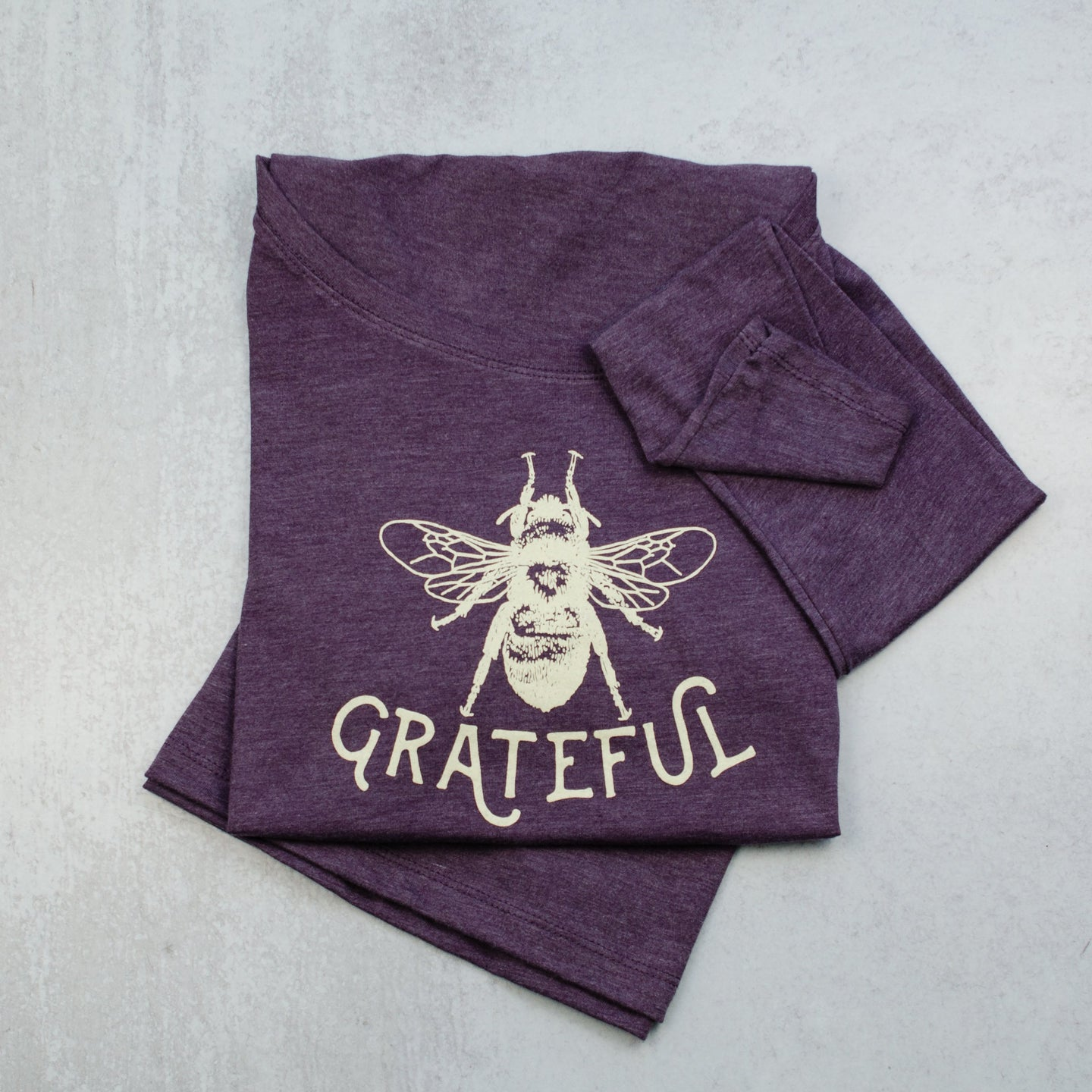 Bee grateful scoop neck long sleeve ladies tee, t-shirt in purple