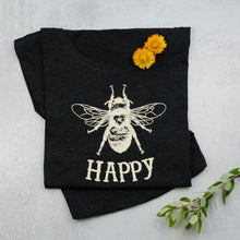 Load image into Gallery viewer, Bee Happy Dolman black Scoop Neck Tee, t-shirt