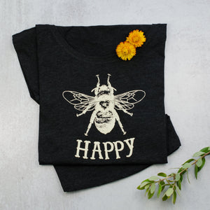 Bee Happy Dolman black Scoop Neck Tee, t-shirt