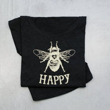 Load image into Gallery viewer, Bee Happy Dolman Scoop Neck Tee, t-shirt in vintage black
