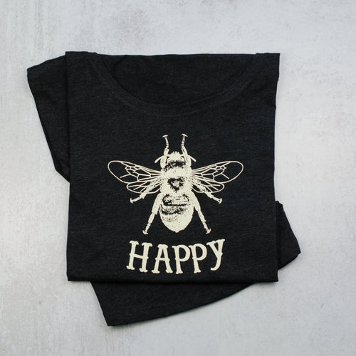 Bee Happy Dolman Scoop Neck Tee, t-shirt in vintage black