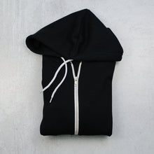 Load image into Gallery viewer, Bee happy black zip up hoodie in black front zipper