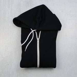 Bee happy black zip up hoodie in black front zipper