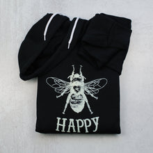 Load image into Gallery viewer, Bee happy black zip up hoodie in black