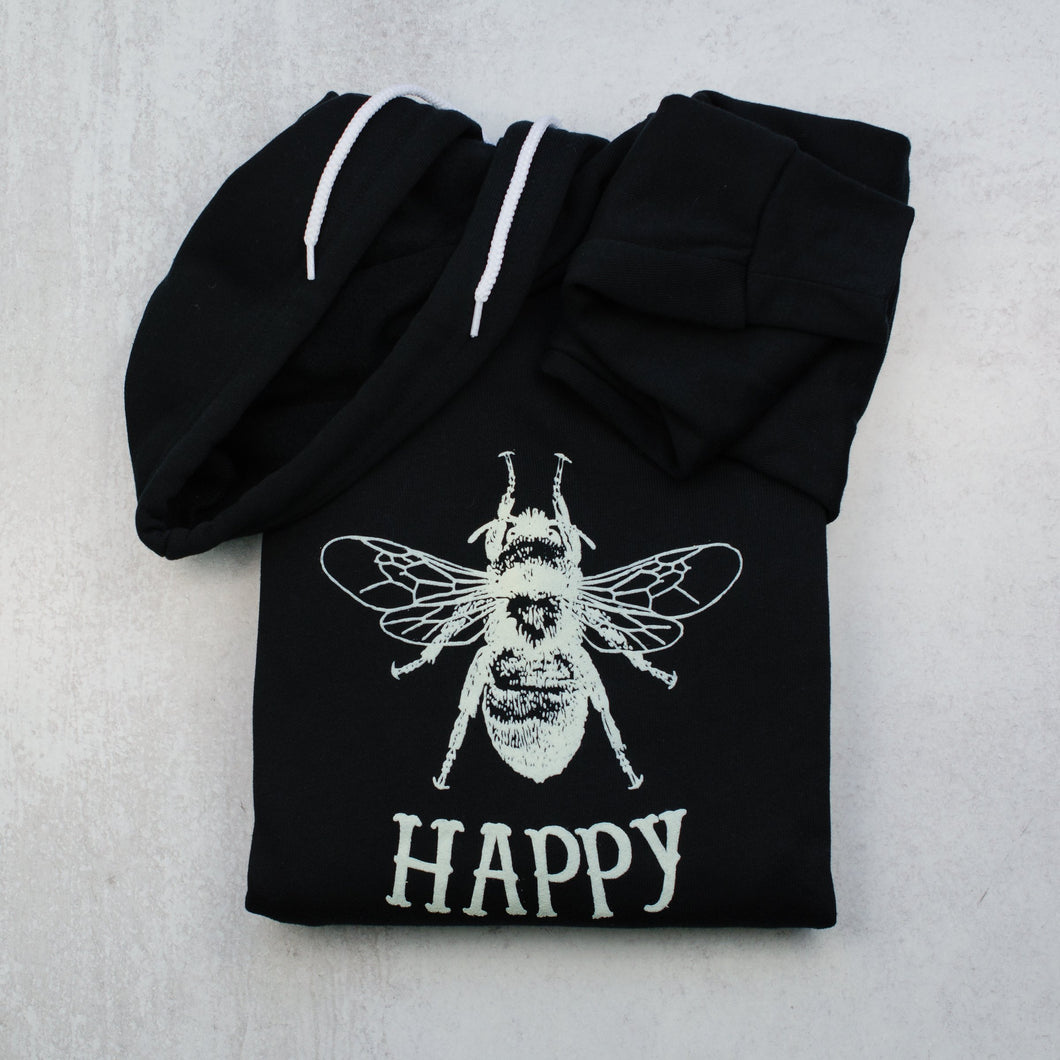 Bee happy black zip up hoodie in black