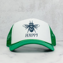 Load image into Gallery viewer, Bee happy mesh trucker hat in green and white