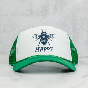 Bee happy mesh trucker hat in green and white