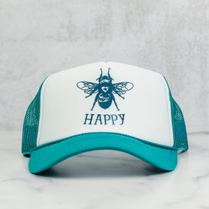 Bee happy mesh trucker hat in jade and white