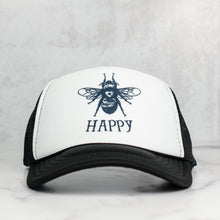 Load image into Gallery viewer, bee happy black trucker hat
