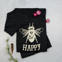 Load image into Gallery viewer, Bee happy scoop neck long sleeve ladies tee, t-shirt in black