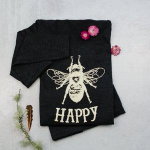 Bee happy scoop neck long sleeve ladies tee, t-shirt in black