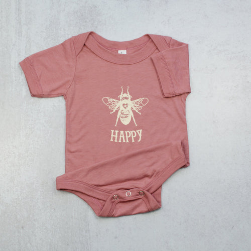 Bee happy infant onesie in mauve pink