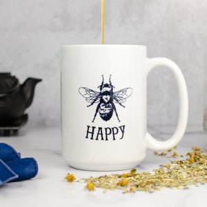 bee happy mug with honey and tea