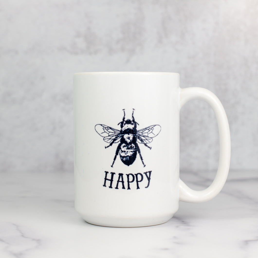 bee happy original mug white ceramic