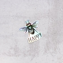 Load image into Gallery viewer, bee happy holographic sticker die cut vinyl