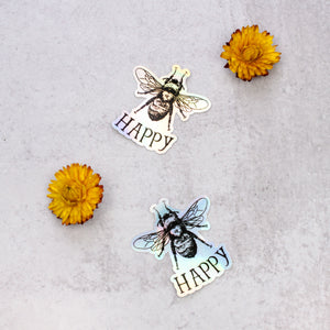 bee happy holographic stickers with flowers