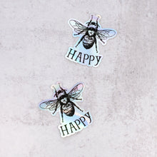 Load image into Gallery viewer, bee happy holographic stickers close up