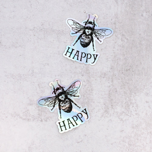 bee happy holographic stickers close up