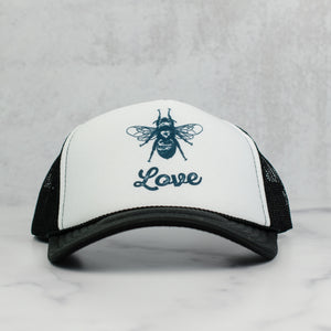 Bee love trucker hat, black and white