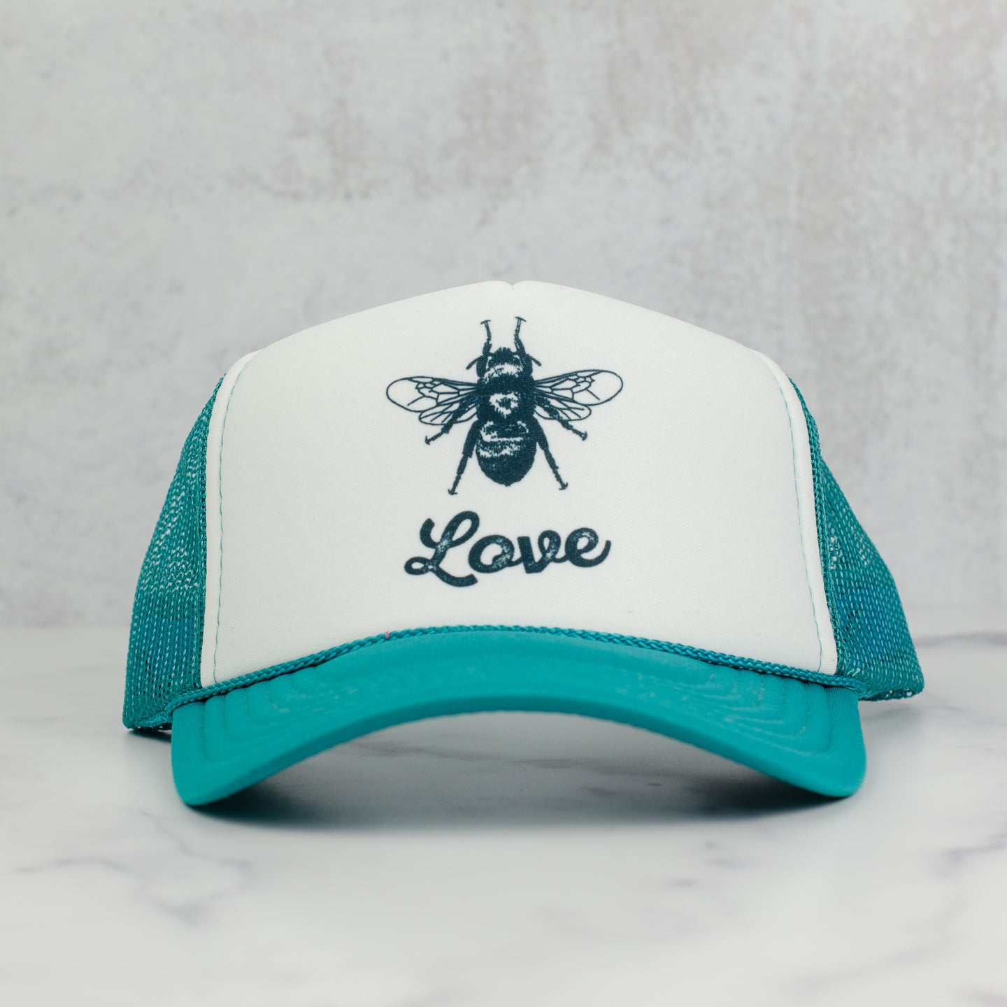 Bee love trucker hat, jade and white