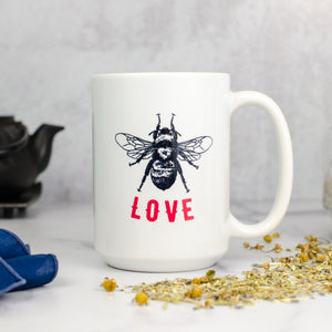 bee happy love mug tea time