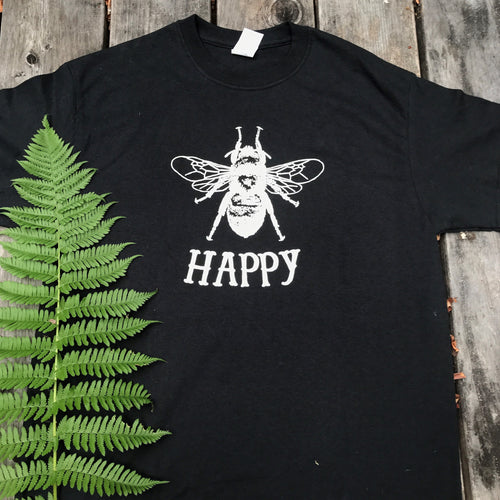 Men's Bee Happy Short Sleeve Black Crew Neck T-shirt