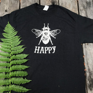 Men's Bee Happy Black Tee