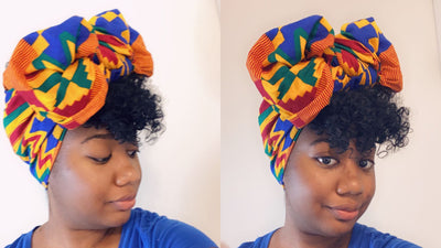 Styling the AFIA head wrap in a ribbon, by Sabrina!