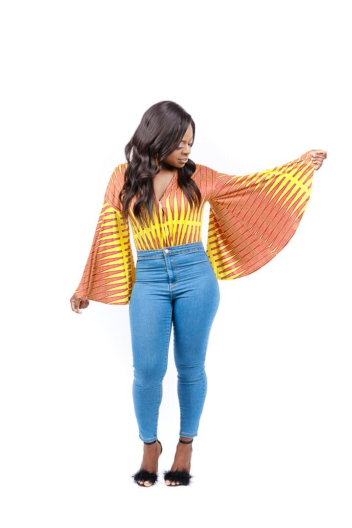 AFRICAN PRINTS PLUNGE FLARE SLEEVE BODYSUIT | ISOKAN Bodysuit - Afro Fusion Apparel African Prints Ankara