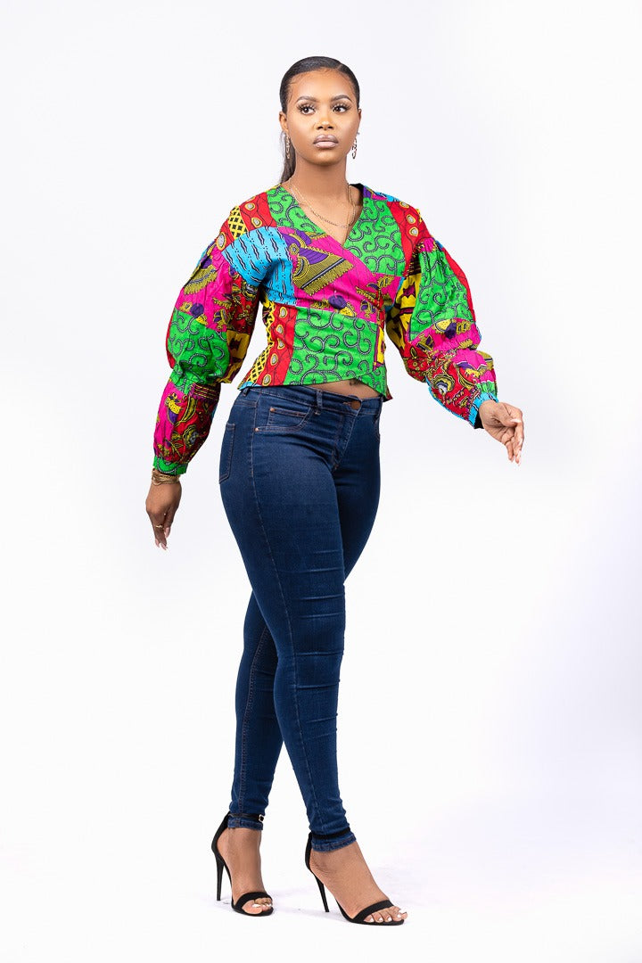 African Print Ankara Green And Pink Wrap Top | SURU Top - Afro Fusion Apparel African Prints Ankara