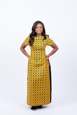 AFRICAN PRINTS ANKARA T-SHIRT DRESS WITH SIDE SPLITS IN MIDI LENGTH | IDUNNU dress - Afro Fusion Apparel African Prints Ankara