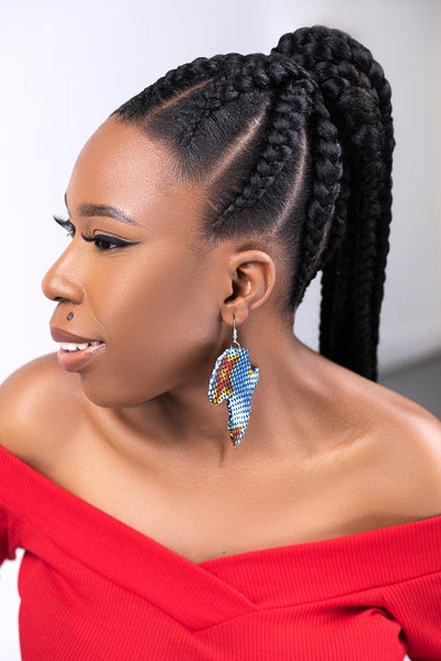 African Print Africa Map Wooden Ankara Earrings| ILU Earrings - Afro Fusion Apparel African Prints Ankara
