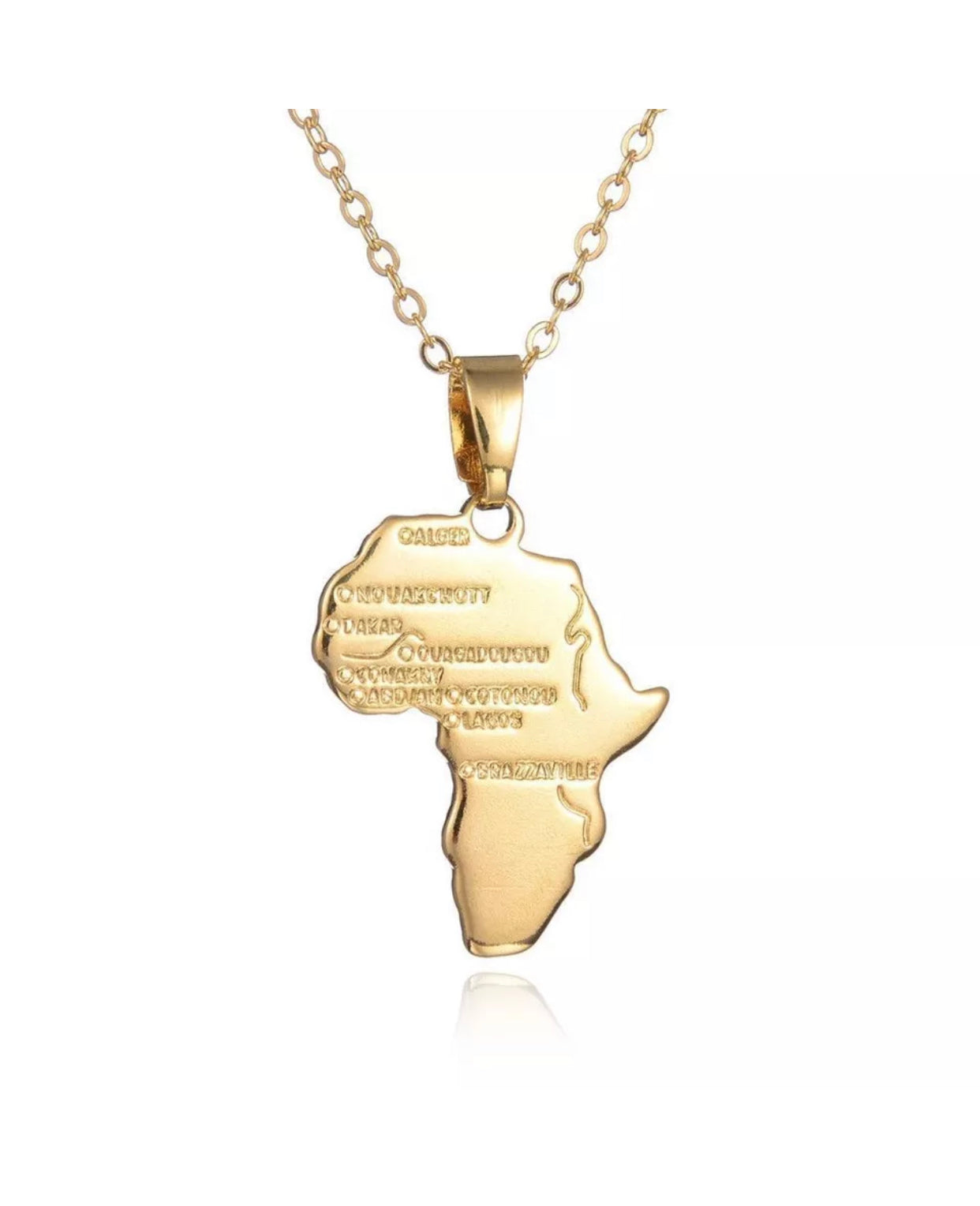 GOLD AFRICA NECKLACE PENDANT CHAIN - Afro Fusion Apparel African Prints Ankara