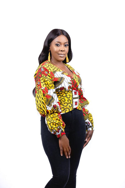 African Print Ankara Yellow And Red Wrap Top | IFE Top - Afro Fusion Apparel African Prints Ankara