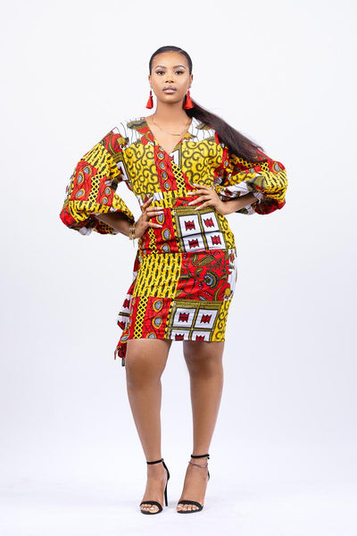AFRICAN PRINTS WRAP DRESS WITH PUFF SLEEVES | OLORI dress - Afro Fusion Apparel African Prints Ankara