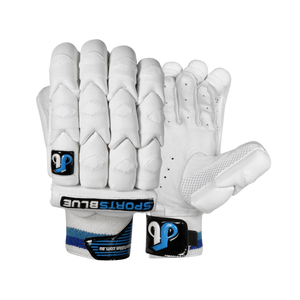 Sports Blue Cricket Batting gloves - (Men's Size) - White Armour - Sports Blue