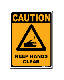 Sign; Caution Keep Hands Clear 225x300mm
