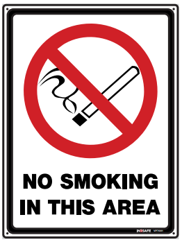 Sign; No Smoking in this area 300 x 400mm