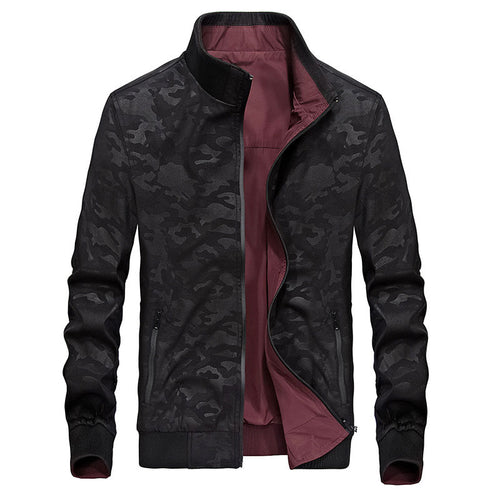 PU Casual Polyester Camouflage Zippered Men's Jackets Coat