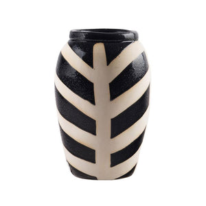 BLACK & NATURAL STRIPE VASE