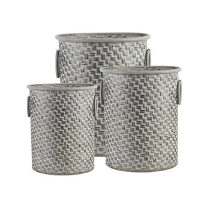 GREYSTONE BASKETWEAVE GALVANIZED BUCKETS