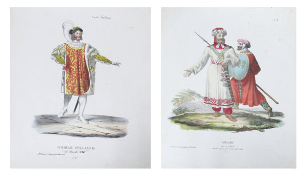 1799 Italian Clothing Design Pochoirs, Set of 2 (Nobleman, Arab Soldiers)