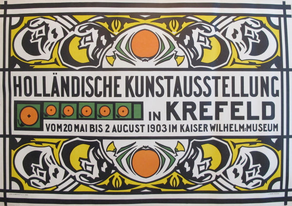 1903 Vintage Dutch Art Nouveau Exhibition Poster - Holländische Kunstausstellung in Krefeld